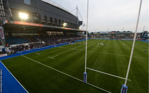 Cardiff Blues installed a synthetic surface at Cardiff Arms Park , beating Sale Sharks in the first game to be played on the new pitch.