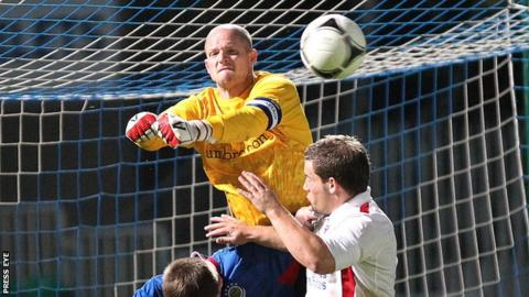 Alan Blayney in action Ards in the League Cup last year