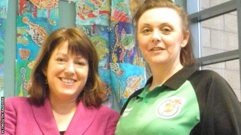 Headteacher Karen White with coach Carys Hall