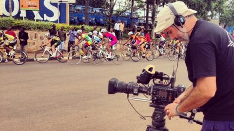 Cameraman at Tour of Rwanda