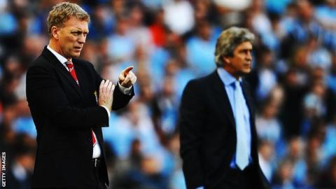 Manchester Untied manager David Moyes and Manchester City manager Manuel Pellegrini
