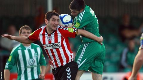 Ruaidhri Higgins in action for Derry City against Bray Wanderers