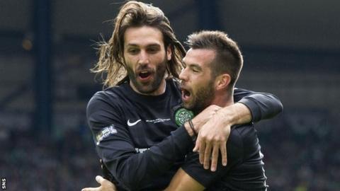 Georgios Samaras and Joe Ledley celebrate