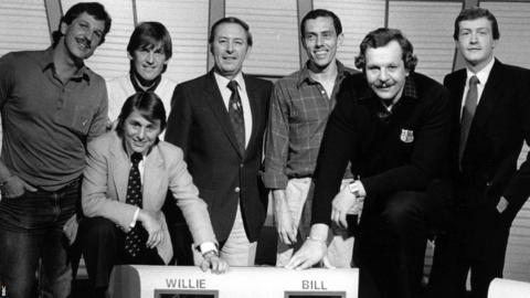 David Coleman at Question of Sport with Ian Botham, Willie Carson, Kenny Dalglish, Bill Beaumont, Steve Ovett, and Steve Davis