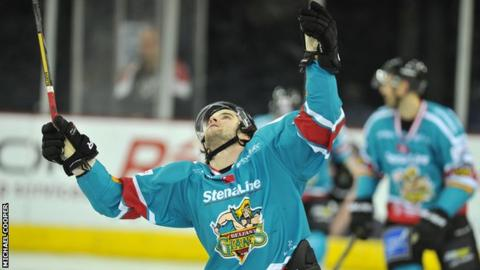 Darryl Lloyd celebrates after scoring his second Giants goal against Coventry