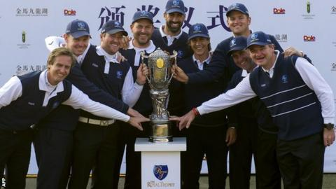 Europe celebrate beating Asia in the Royal Trophy