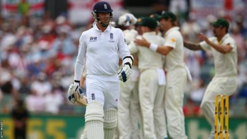 17 Dec 2013: Graeme Swann of England looks dejected after being dismissed by Nathan Lyon of Australia during day five of the Third Ashes Test Match between Australia and England.