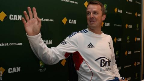 22 Dec 2013: Graeme Swann of England speaks at a press conference to announce his retirement from all forms of cricket at Melbourne Cricket Ground on December 22, 2013 in Melbourne.