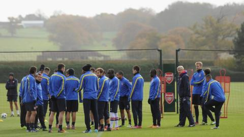 Arsenal team in a training session