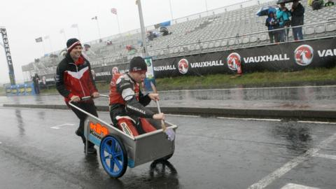 The North West 200 was abandoned after heavy rain but Jamie Hamilton ventured onto the circuit with his makeshift paddle