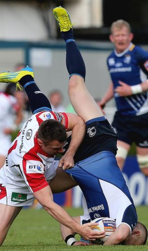 Ulster wing Tommy Bowe tries to snatch the ball from an upended Ian Madigan in the Pro12 final, which Leinster won 24-18