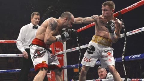 Kiko Martinez on the defensive as Belfast's Carl Frampton lands a punch on his way to winning the European super-bantamweight title in February
