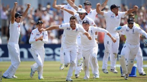 James Anderson celebrates the wicket of Brad Haddin as England beat Australia in the first Ashes Test at Trent Bridge. England went on to beat their rivals 3-0 - only to lose the Ashes just a few months later.