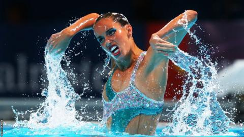 Spain's Ona Carbonell competes in the World Synchronized Swimming Championships at Palau Sant Jordi in Barcelona.