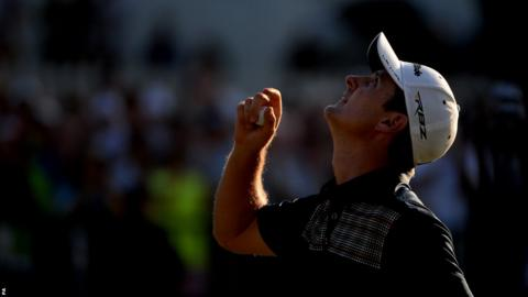 Justin Rose looks to the heavens in acknowledgement of his deceased father following the completion of his final round at the US Open. The 33-year-old won by two strokes to become the first Englishman to take the title since Tony Jacklin in 1970.