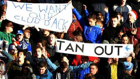 Cardiff fans protest at Anfield