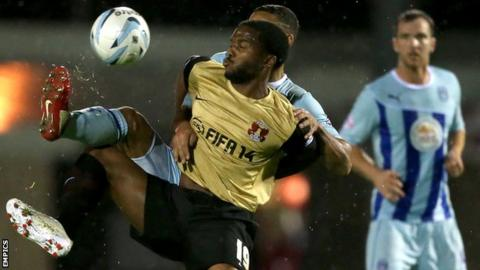 Leyton Orient's Yohann Lasimant in action against Coventry City