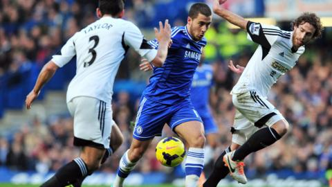Chelsea goal scorer Eden Hazard takes on Swansea defenders Neil Taylor and Jose Canas during the Premier League match at Stamford Bridge