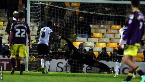 Gavin Tomlin strikes Port Vale's winner against Notts County from the penalty spot
