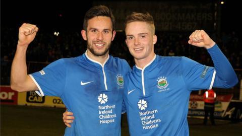 Andy Waterworth and Aaron Burns were Linfield's goal-scorers against Glentoran