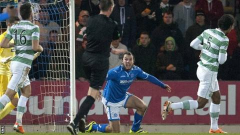 St Johnstone striker Stevie May claims for a penalty