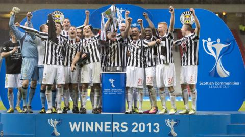 St Mirren players celebrating with the Scottish League Cup