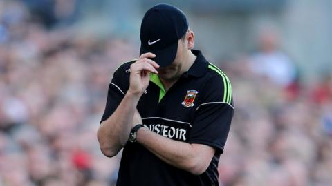 Mayo manager James Horan's reaction as he sees the All-Ireland title slip away in the closing stages of the defeat by Dublin
