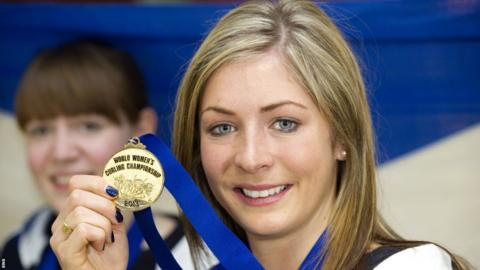 Eve Muirhead with her World Women's Curling Championship gold medal