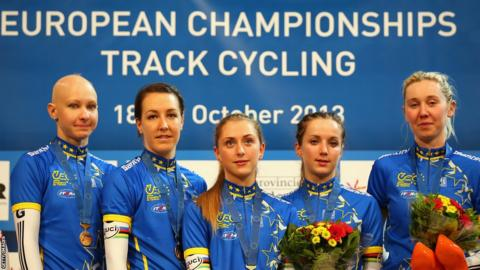 Great Britain's winning Team Pursuit team at the European Track Championships