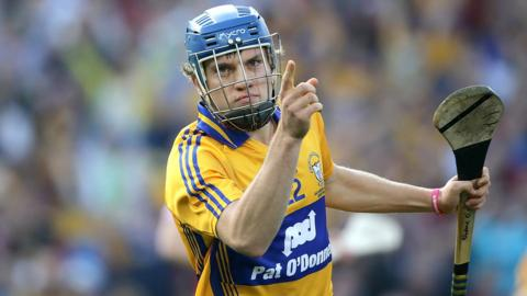Shane O'Donnell celebrates after one of his three goals in the All-Ireland Football final