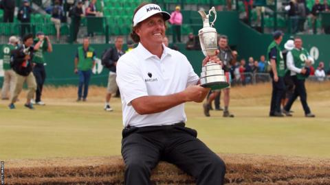 Phil Mickelson shows off the Claret Jug