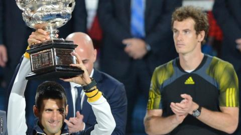 Andy Murray applauds after losing out to Novak Djokovic