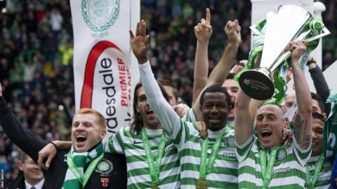 Celtic celebrate their league triumph