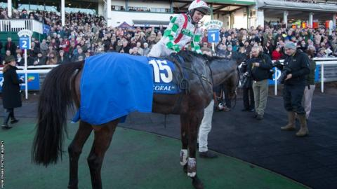 Coral Welsh Grand National 2013 winner Mountainous with jockey Paul Moloney
