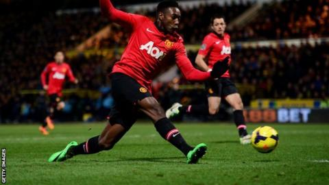 Manchester United striker Danny Welbeck scores at Norwich