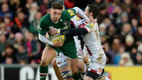 Fly-half Owen Williams plays a key role, scoring 15 points, in Leicester Tigers win against Sale Sharks.