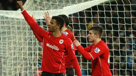 Fraizer Campbell salutes the Cardiff fans after putting them 2-0 up at home to Sunderland