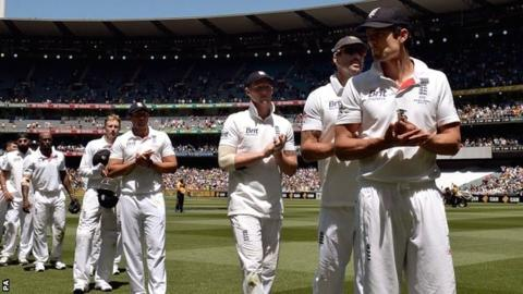 A dejected England team after their fourth successive Test defeat