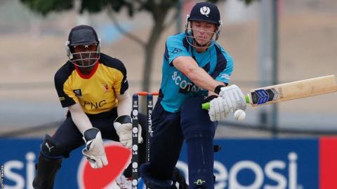 Scotland batsman Richie Berrington in action