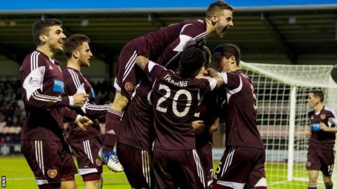 Hearts players celebrating