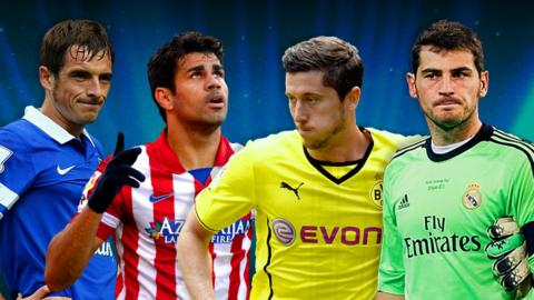 Leighton Baines, Diego Costa, Robert Lewandowski, Iker Casillas