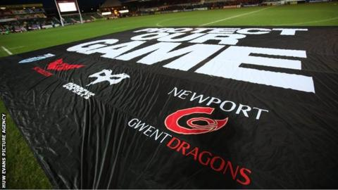 Welsh regional rugby supporters protest against the WRU before a Pro12 game