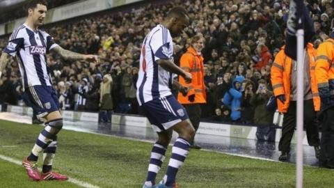 Saido Berahino of West Browmwich Albion celebrates after scoring