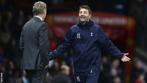 Tottenham boss Tim Sherwood celebrates win against Manchester United