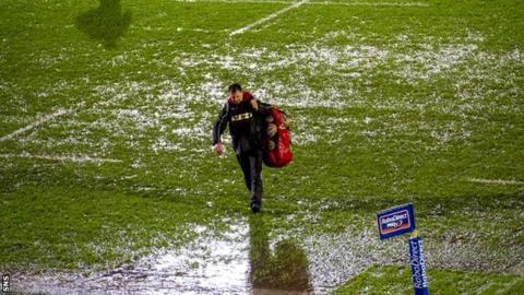 Waterlogged pitch at Scotstoun
