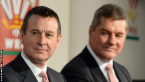 WRU chief executive Roger Lewis and Chairman David Pickering