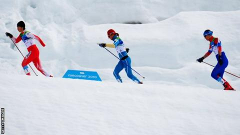 Cross-country skiing action from the Vancouver Paralympics