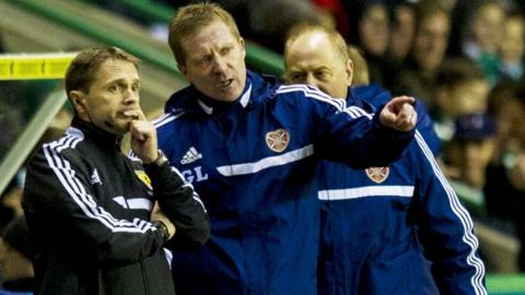 Hearts boss Gary Locke (middle) speaks to fourth official Crawford Allan (left)