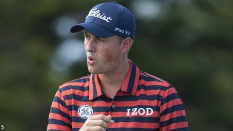 Webb Simpson in first-round action at the Plantation Course in Hawaii
