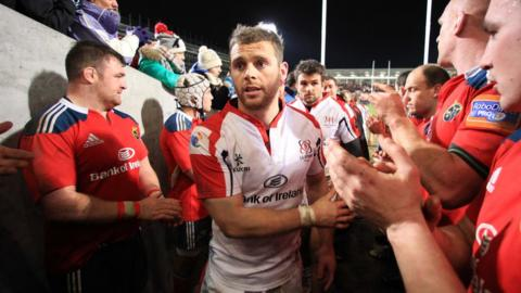 Ulster try-scorers Darren Cave and Jared Payne leave the field after their side's Pro12 win over Munster